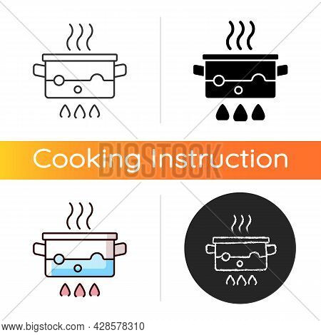 Boil For Cooking Icon. Simmering Water In Pot On Stove. Bubbling, Steaming Liquid. Cooking Instructi