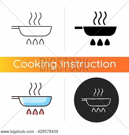 Fry Pan Icon. Roasting Ingredients For Dinner On Stove Flame. Stirring Process. Cooking Instruction.