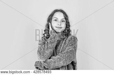 Enjoy Silky Hair. Beautiful Little Model. Healthy Curls. Easy Hairdo. Hairdresser Salon. Pretty Girl