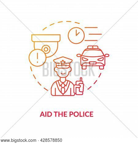 Aid The Police Red Concept Icon. Theft Detection System. Safety From Burglar. Security Camera Alerts