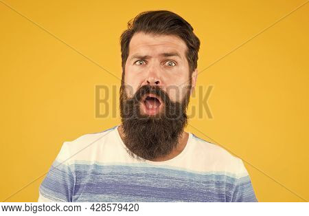 Surprised Unshaven Man With Beard. Beard And Skin Care. Joy And Happiness Concept. Portrait Of Beard