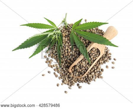 Wooden Scoop, Hemp Seeds And Leaves On White Background, Top View