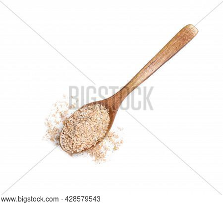 Wooden Spoon With Wheat Bran On White Background, Top View