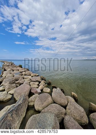 Breakwater In The Bay Close Up On A Sunny Day