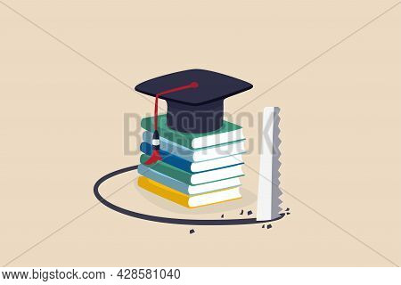 Student Loan Pitfall, Knowledge Cost And Expense Or Big Debt To Pay Off For Education, High Degree E