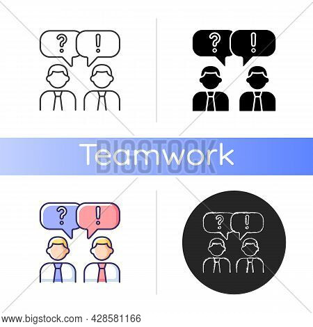 Communication Icon. People Talking. Verbal And Nonverbal Communication. Business Conversation. Small