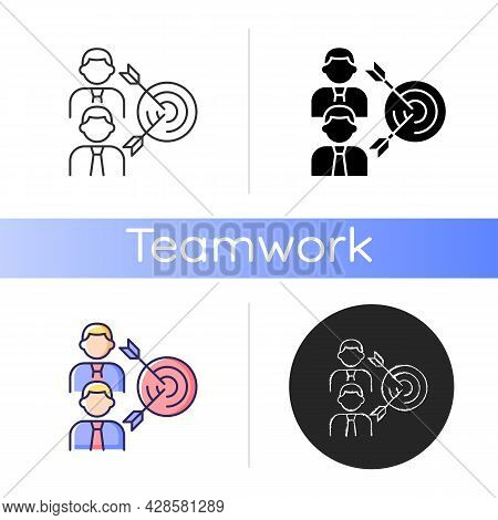 Common Goal Icon. Collective Purpose. Team Building Skills. Colleagues Aim Towards Common Goal. Two