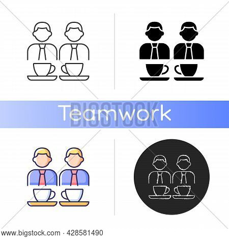 Common Breaks Icon. Coworking During Coffee Break. Lunch Time Colleagues Conversation. Office Discus