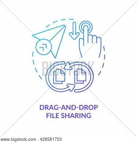 Drag And Drop File Sharing Blue Gradient Concept Icon. Digital Data Transformations Service. Messagi