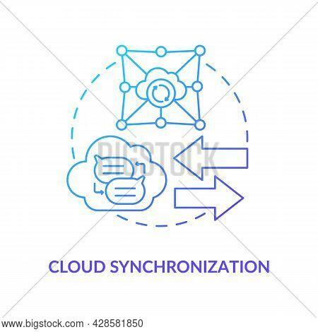 Cloud Synchronization Blue Gradient Concept Icon. Files Backup Online Service. Data Storage. Messagi