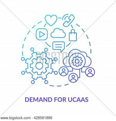 Demand For Ucaas Blue Gradient Concept Icon. Unified Communication As Service. Cloud Computing. Mess