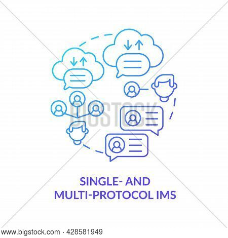 Single And Multi Protocol Im Blue Gradient Concept Icon. Online Platform Services For Texting. Messa