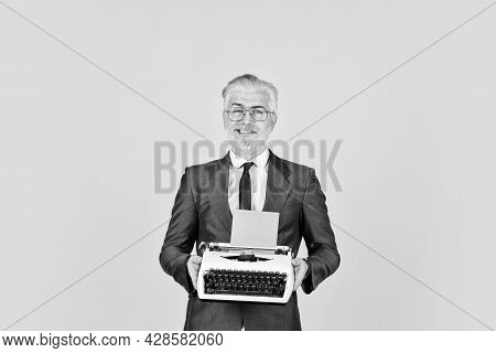 Writer Stick Old Habits. Businessman Use Retro Technology. Mature Man Dyed Beard Hair Yellow Backgro