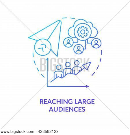 Reaching Large Audience Blue Gradient Concept Icon. Communication Service For Business. Messaging So