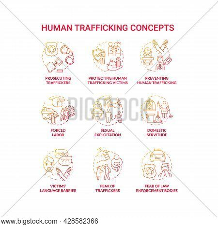 Human Trafficking Red Concept Icon Set. Human Smuggling Idea Thin Line Color Illustrations. Forced L