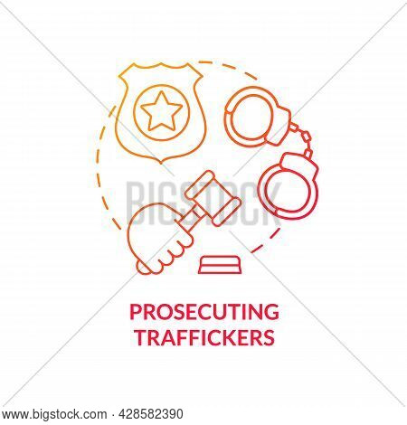 Prosecuting Traffickers Red Concept Icon. Convicted Human Trafficker Abstract Idea Thin Line Illustr