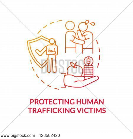 Protecting Human Trafficking Victims Red Concept Icon. Empathy And Support Abstract Idea Thin Line I
