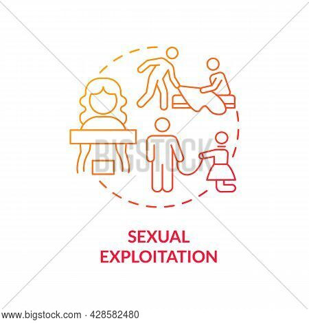 Sexual Exploitation Red Concept Icon. Sexual Harassment And Abuse Abstract Idea Thin Line Illustrati