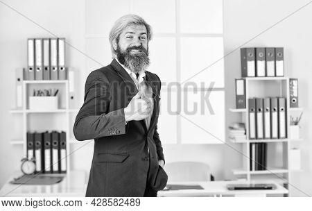 Business Satisfaction. Professional Businessman Waiting For Partner. Business Man Wearing Smart Casu