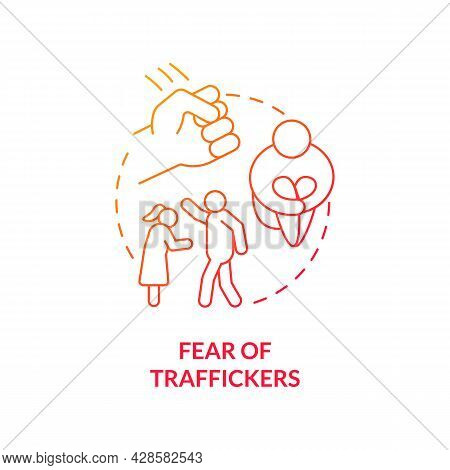 Fear Of Traffickers Red Concept Icon. Scared Person Abstract Idea Thin Line Illustration. Emotional