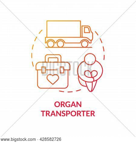 Organ Transporter Red Concept Icon. Donors Transfer Abstract Idea Thin Line Illustration. Person Lur