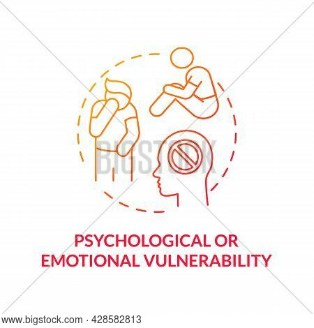 Psychological Or Emotional Vulnerability Red Concept Icon. Mental Health Problems Abstract Idea Thin