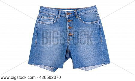 Denim Shorts Close Up. Blue Jean Shorts With A White Background. Women Jeans Shorts Isolated On Whit
