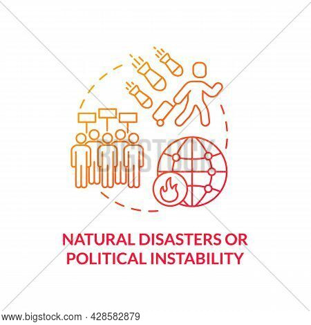 Natural Disasters Or Political Instability Red Concept Icon. Cause Of Slavery Abstract Idea Thin Lin