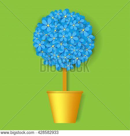 Blue Flower Tree In The Golden Pot