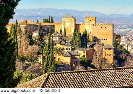 View Of The Alhambra And Its Moorish Palace From The Middle Ages.