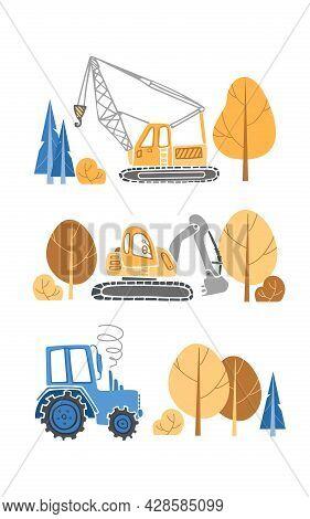 Childrens Set Of Construction Equipment. Cartoon Illustration For Boys In A Scandinavian Style. Tran