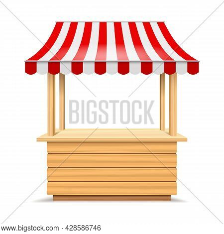 Wooden Market Stall. Fair Canopy Kiosk, Bakery Booth With Awning, Marketing Stand With Striped Tent,