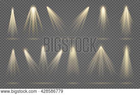 Spotlight Rays. Spot Light Beams, Vector Scene Spotlights, Shining Abstract Lamps For Interiors Desi