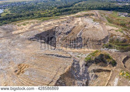 Russia, Ryazan, 02 Sep, 2018 Large Pile Of Debris, City Dump Pollution.