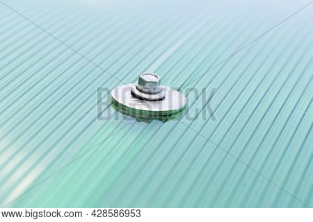 Surface Of Green Polycarbonate Plastic Sheet Panel With Mounting Steel Hex Bolt With Washer