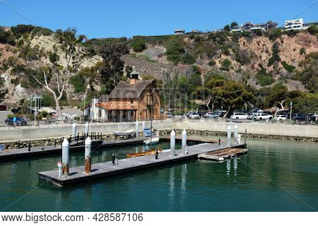 DANA POINT, CALIFORNIA - 20 JUL 2021: Orange County Ocean Institute Shipwright building. Located in Dana Point Harbor, The Ocean Institute is known for its education and maritime history programs.