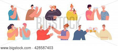 Friends Clinking Glasses. People Holding Drink, Cheers Beer Or Wine Glass. Drinking Party, Flat Teen