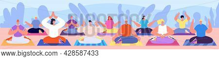 People Relax Group. Meditating Character, Yoga Class Meditate Poses. Spiritual Wellbeing Practice Or