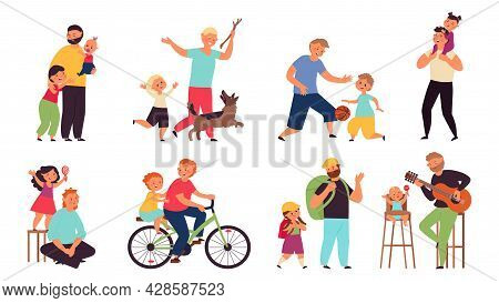 Father Playing With Kids. Fathers And Son Together, Parents With Lovely Kid Play With Toy. Summer Ti