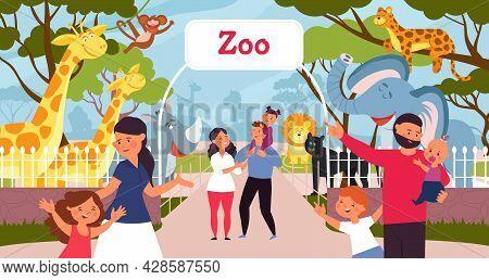Family In Zoo. Smiling Cartoon Kids, Walking In Park With Parents. Safari In City, Giraffe Monkey El