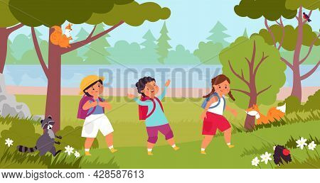 Kids Walking In Forest. Kid Explore Nature, Children On Natural Activities. Child Walk And Exploring
