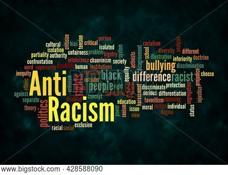 Word Cloud With Anti Racism Concept Create With Text Only.