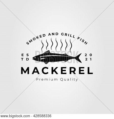 Grilled Seafood Mackerel Fish Logo Vector Illustration Design