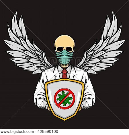 The Skull Of The Guardian Doctor Protect From The Virus Of Illustration