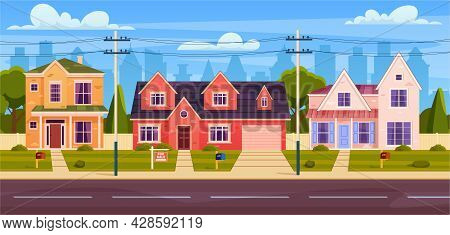 Rural Cottages, Suburban Street With Modern Buildings With Garages And Green Trees.house For Sale. C