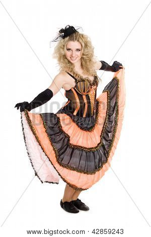 Young beautiful blonde girl dancing the cancan.