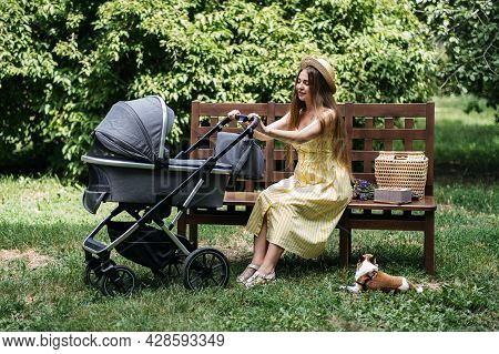 Baby Strollers For Newborn. Young Mother With Newborn Baby In Stroller Sitting On Bench In The Park.