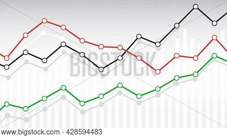 Lined Diagram Market, Charts, Graphic. Financial And Economic Downtrend And Uptrend. Vector Illustra
