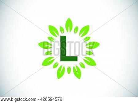 Initial L Monogram Letter Alphabet With Leaf Wreath. Green Leaf, Flower Logo Design Concept. Modern