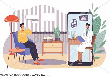 Vector Flat Cartoon Patient, Doctor Characters.physician Examines Medical Card Of Sick Man With Vira